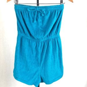 Vintage style terry towel strapless romper